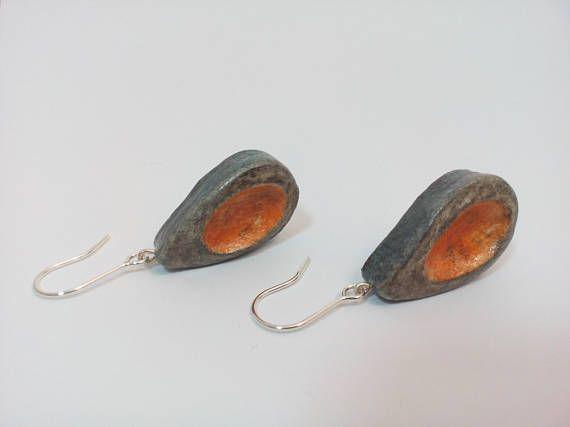 Teardrop earrings of air drying clay Sterling silver hooks