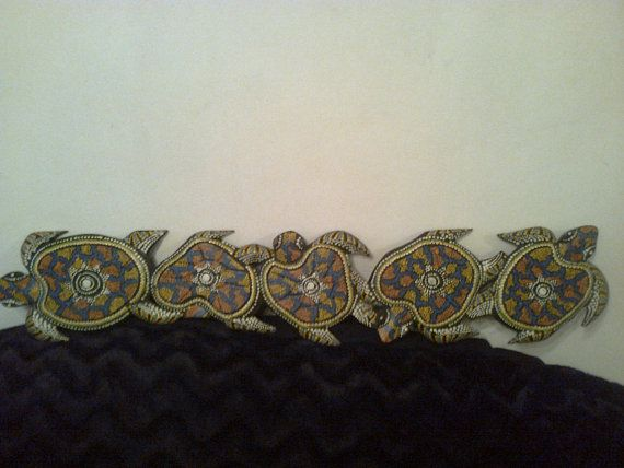 Vintage painted wooden sculpture the turtle with four by Lionsoul, €145.00