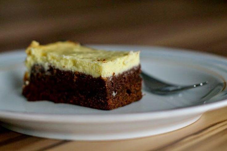 Brownie mit KäsekuchenHaube Dessert ideen, Kuchen