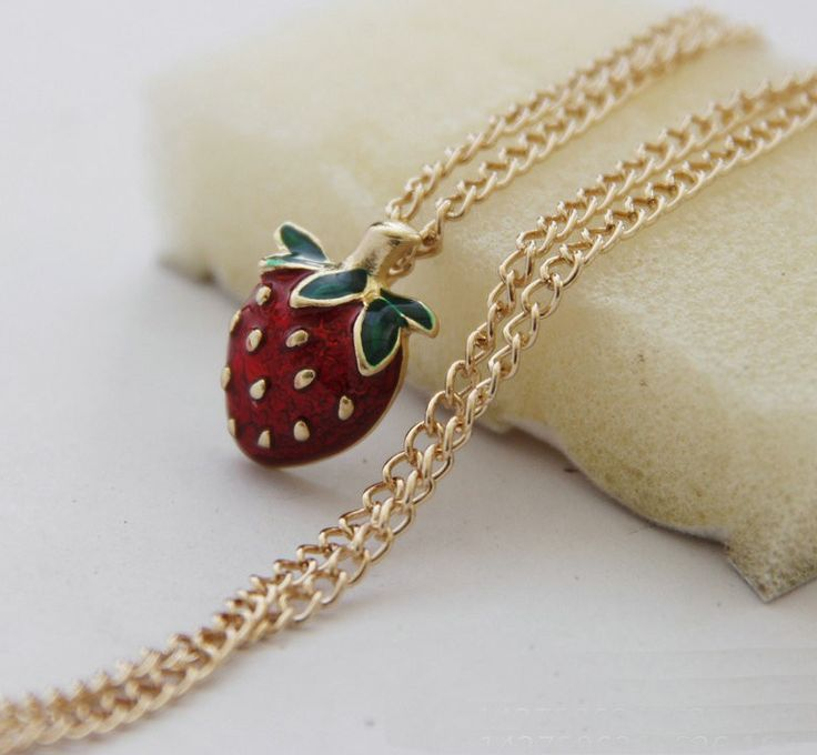 Strawberry Necklace - Fresh and Fruity Necklaces! Strawberries are Always a good choice! Cute and Beautiful Simplicity that goes with everything! #kawaii #cute #necklace