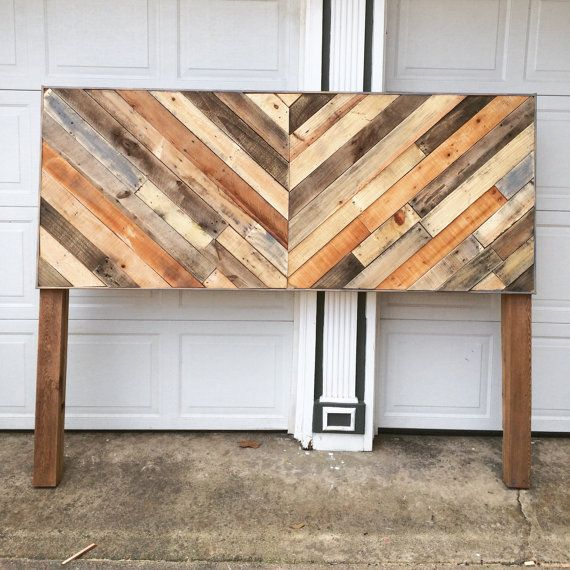 Chevron Pallet Headboard by SageCustomWoodworks on Etsy
