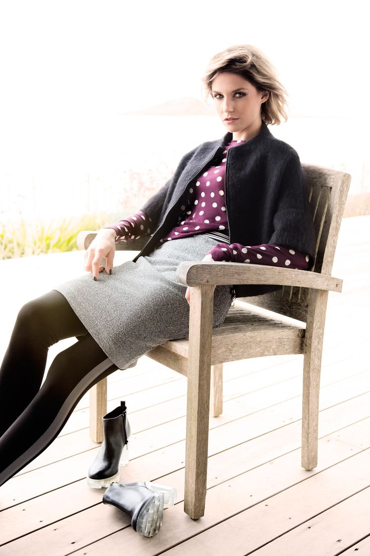 Silver lurex jersey skirt, black mohair zip jacket and spotty T-shirt, all Carolyn Donnelly The Edit
