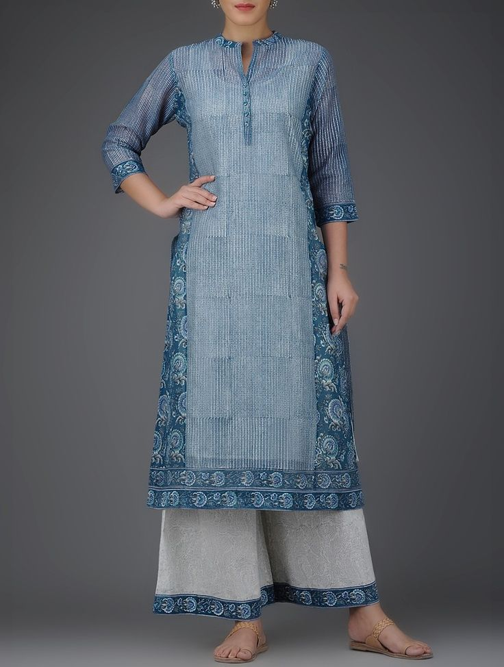 Buy Indigo White Block Printed Mandarin Collar Chanderi Kurta with Cotton Slip…