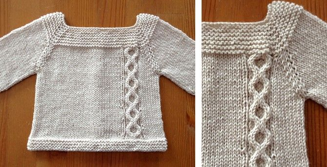 This beautiful Jeudi knitted baby sweater is a seamless sweater that is knitted from the top down. The raglan sweater is suitable for a baby up to 3 months.