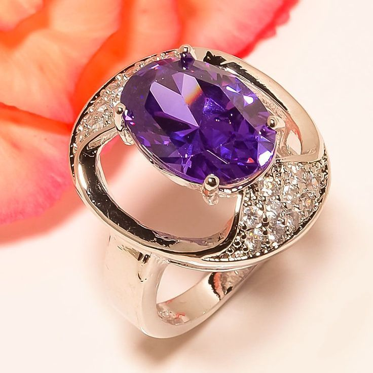 African Amethyst, White Topaz 925 Sterling Silver Jewelry Ring 6.5 #Handmade #Cluster