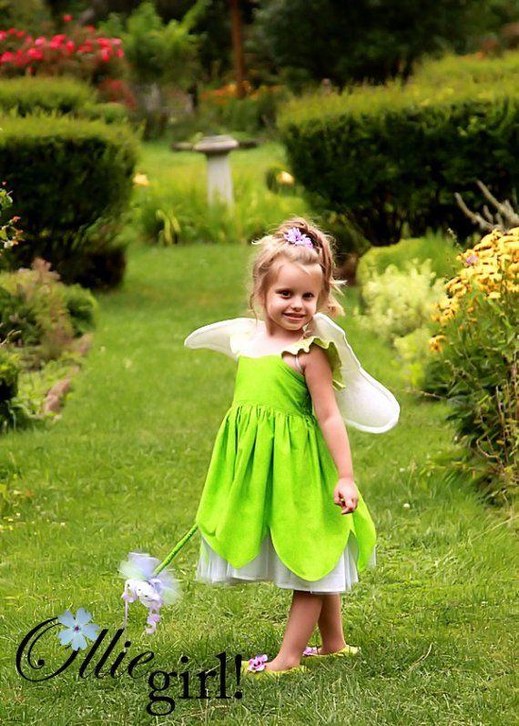 Tinkerbell Fairy Pixie Sun Dress Boutique Custom  Halter Costume Cotton Handmade Tink Friend Summer Spring  Sizes 12 months, 18 months, 24, 2T,3T,4T,5T,5\/6,6X,7 girls  Team EtsyKids