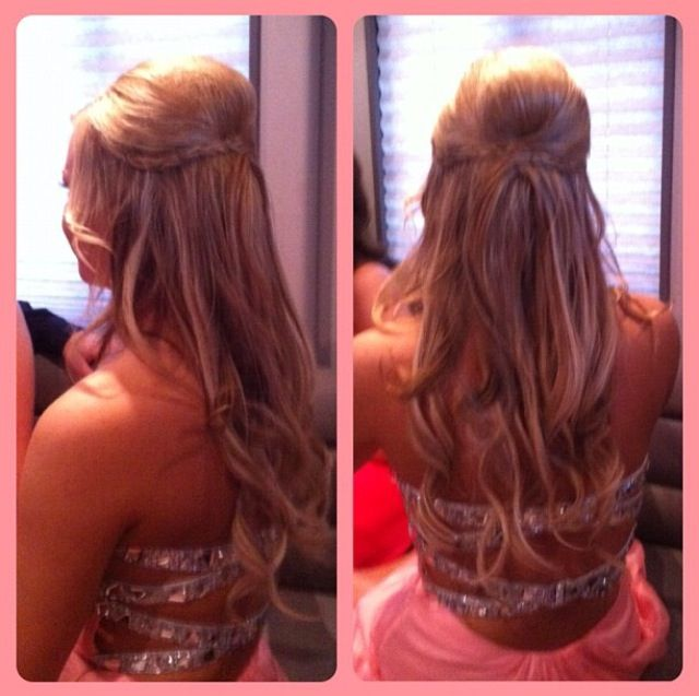 Beautiful Half Up Half Down Braided Hair Do For Senior Prom Loved My Dress And Hair One