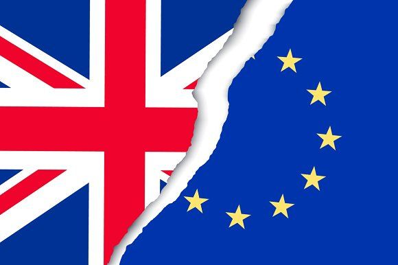 Two torn flags - EU and UK.  by ecco on @creativemarket