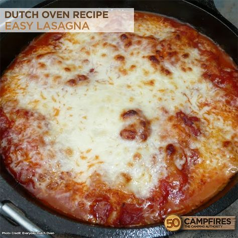 Dutch Oven Easy Lasagna Recipe - perfect for fall and winter! #camping #dutchoven