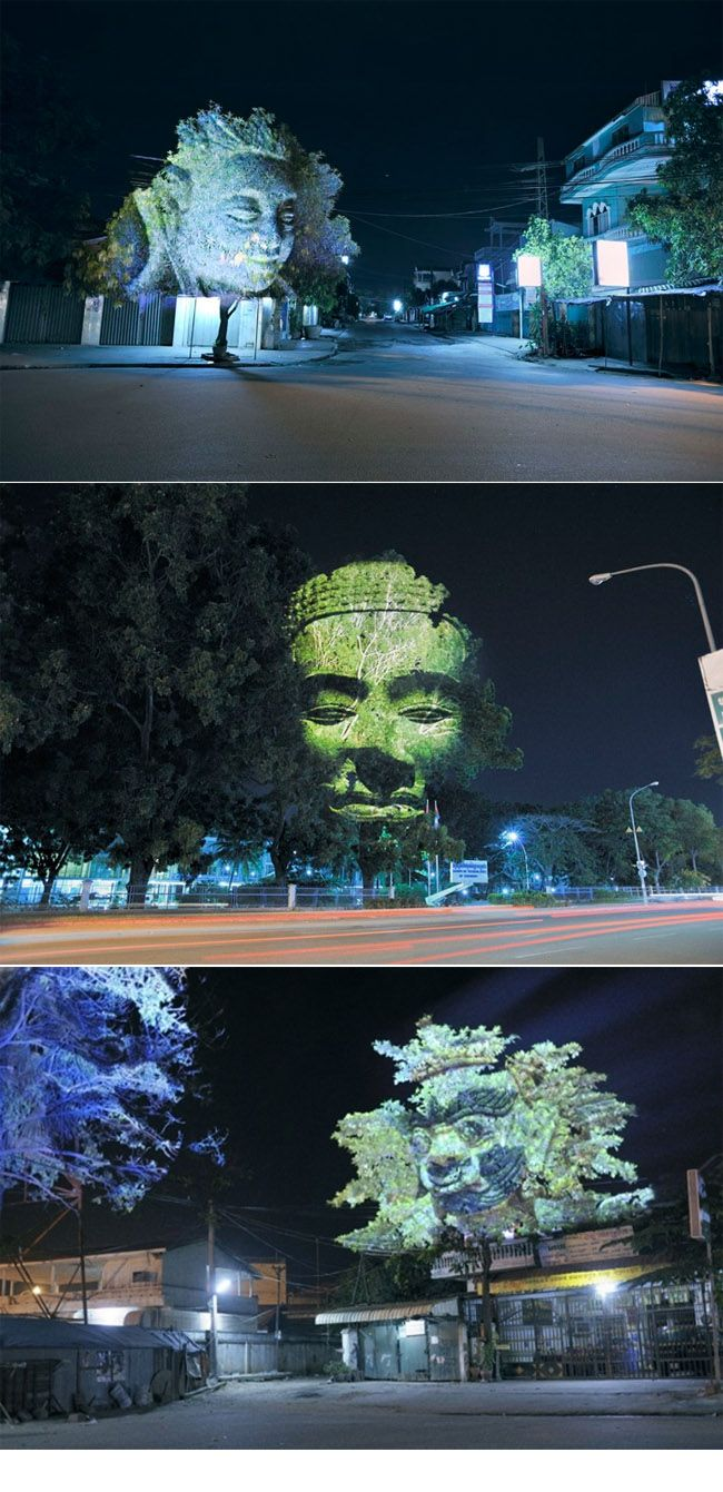 Projection Clement Briend's public projection series flippin awesome...but a tad freaky lookin