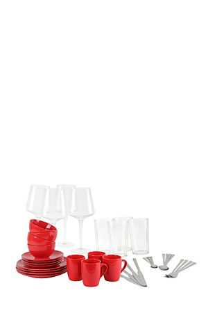 "The perfect starter set for any newly web couple or new home owner, contemporary and modern sure to add value to your home. This basic starter set includes 4 porcelain dinner plates, 4 porcelain side plates, 4 porcelain bowls and 4 porcelain mugs, 4 wine glasses and 4 glass tumblers, also a 18/0 stainless steel 16 piece acrylic cutlery set with cutlery holder for easy storage.<div class=""pdpDescContent""><BR /><b class=""pdpDesc"">Dimensions:</b><BR />L27.5xW27.5xH2.5 cm</div>"