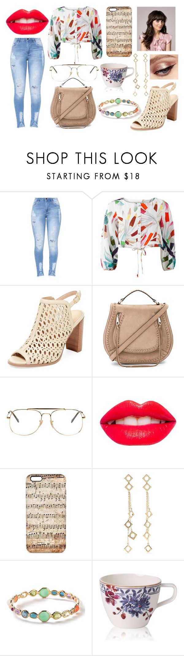 """Theodosia - Color Me Shocked"" by alexislexy ❤ liked on Polyvore featuring Mara Hoffman, Renvy, Rebecca Minkoff, Ray-Ban, Zooey, Arme De L'Amour, Ippolita and Villeroy & Boch"