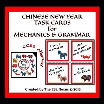 Here's a set of CCSS-aligned task cards about the Chinese zodiac that let students demonstrate their knowledge of capitalization, punctuation, spelling, and grammar. Sentences are written in simple English so ELLs at an intermediate proficiency level or older students who are not reading at grade level can comprehend them. Each sentence has one error in mechanics or grammar and the task for the students is to identify the type of error and then fix it so the sentence is written correctly…
