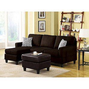 Vogue Microfiber Reversible Chaise Sectional Sofa, Multiple Colors