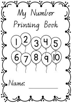 Numbers 1 to 10 printing/handwriting work booklets in Vic Modern Cursive font.