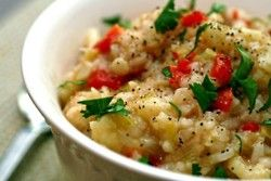 THINK THIN: Cauliflower risoto    1C of cauliflower - shredded to rice like size in a food processor    1 tbsp onions    3 tbsp milk    In a medium saucepan mix together all the ingredients, add tomatoes, spices and herbs to taste    calories: 40 calories!
