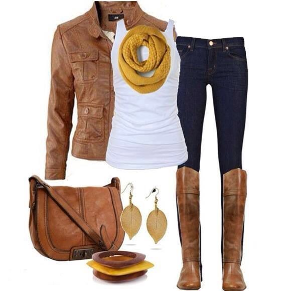Light brown outfit with jeans