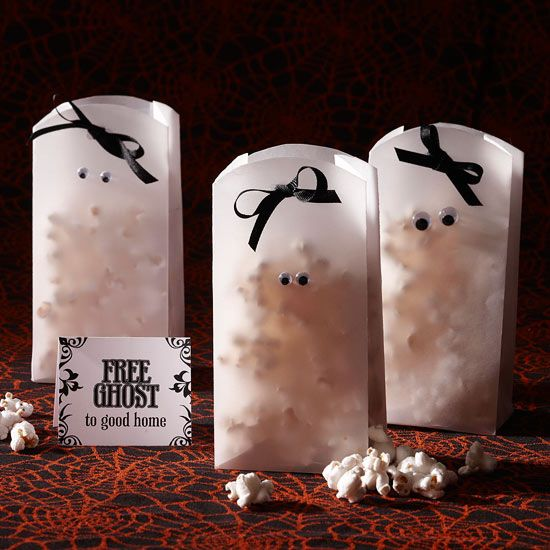 Googly eyes on a white vellum paper bag to make spooky ghostly Popcorn Bags.
