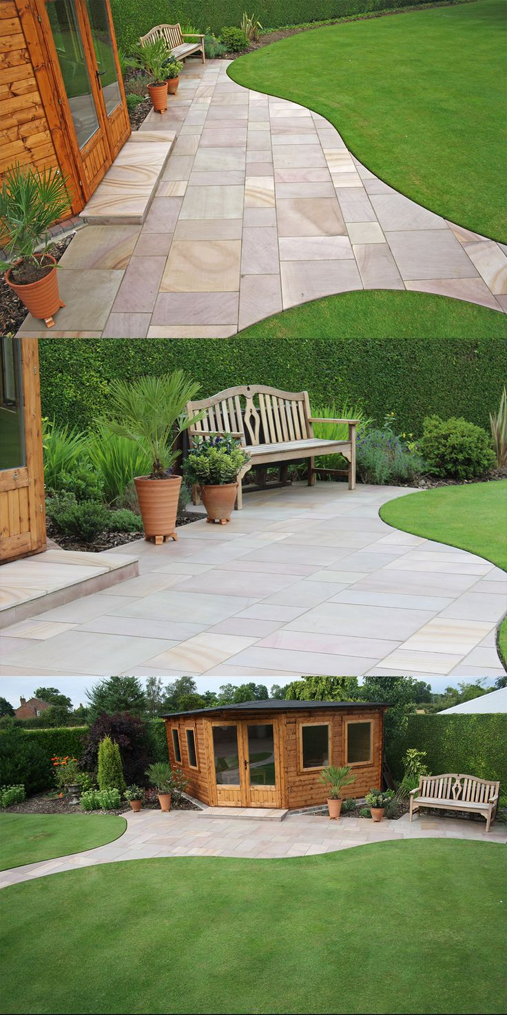 Beautiful summer house and patio | Maple Sandstone Flagstones | Stunning Colours | Landscaping | Patio | Garden Path | Garden Bench | Traditional Paving | Installed by Pickwell Paving