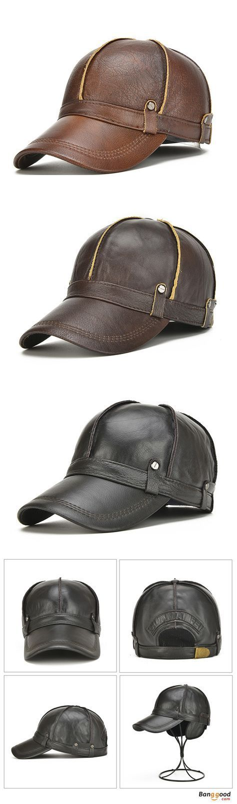 US$28.69+Free shipping. 60% OFF! Warm Baseball Cap, Trucker Hat, Genuine Leather, With Ears Flaps, Adjustable, Color: Black, Brown, Yellow Brown. Shop now~