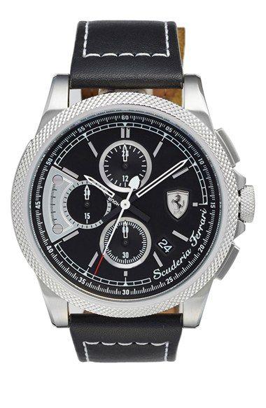 Scuderia Ferrari 'Formula Italia' Chronograph Leather Strap Watch, 46mm