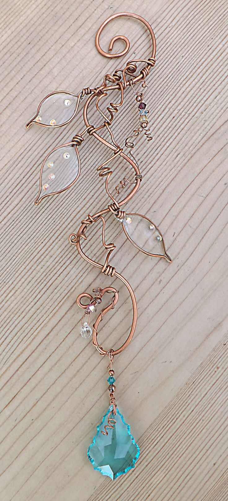 Pure copper wire wrapped suncatcher with Swarovski crystals by ContoursAlbion, Etsy