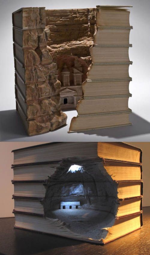This makes me cringe just a little bit, because they're books, and I love books...  But then I look again and am simply amazed by how much detail this artist went in to...