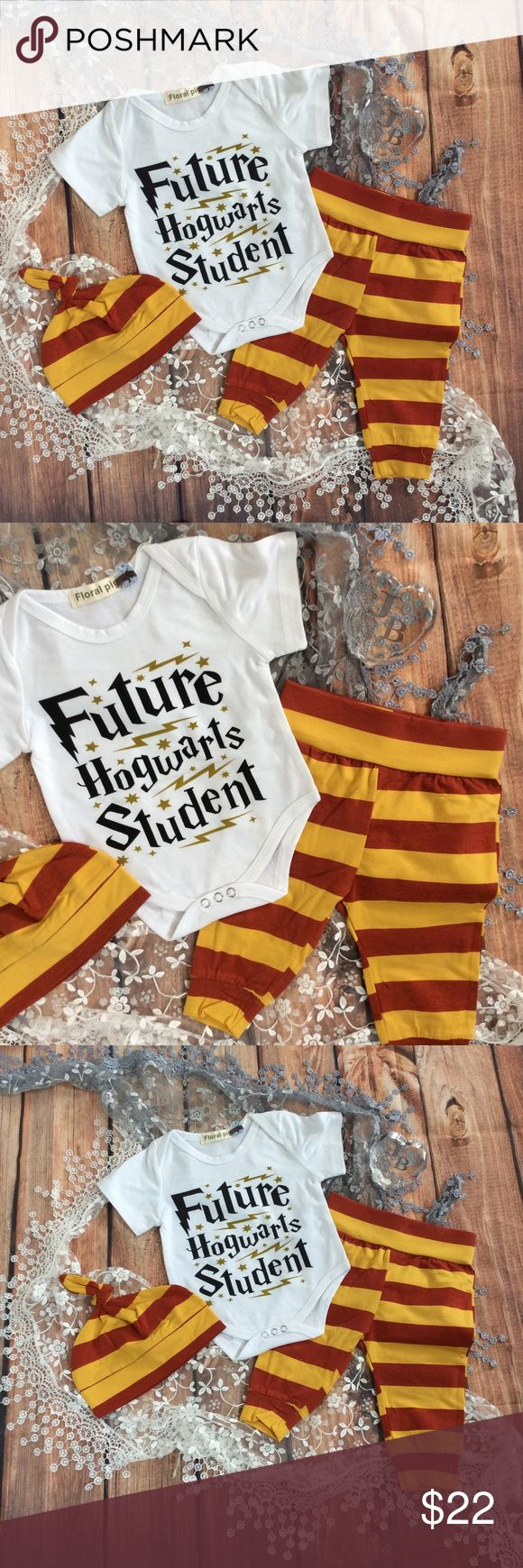 Boutique Baby FUTURE HOGWART STUDENT Harry Potter Perfect for all you HP fans out there. Baby white short sleeve onesie with FUTURE HOGWART STUDENT across the front. Gold yellow and red striped long pants and knot beanie hat perfect baby shower gift too! Matching Sets