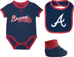 Of course Toby needs a braves outfit!!!!   Atlanta Braves Newborn Navy Triple Play 3-Pack Bib, Bootie, and Creeper Combo $21.99 http://www.fansedge.com/Atlanta-Braves-Newborn-Navy-Triple-Play-3-Pack-Bib-Bootie-and-Creeper-Combo-_495617168_PD.html?social=pinterest_pfid67-53293
