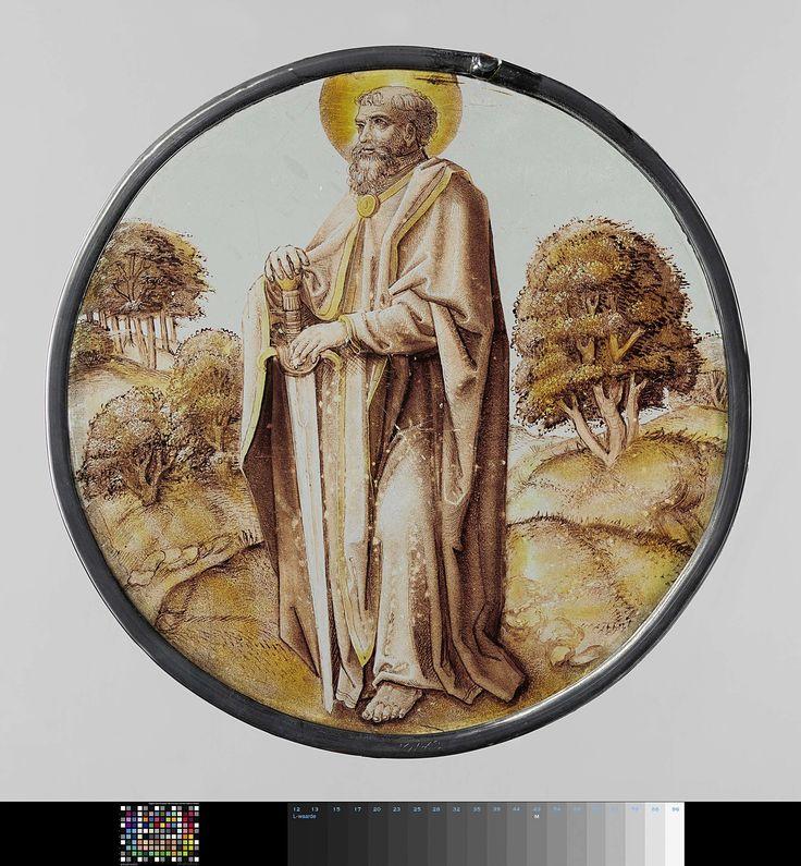 Anonymous | Ruit met de apostel Paulus, Anonymous, c. 1525 | Ruit met de apostel Paulus, naar rechts gewend, staande in een bergachtig en boomrijk landschap en steunend op zijn zwaard.