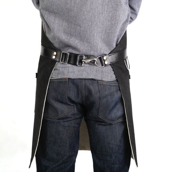 Rugged Men's Apron Selvage Denim Black by Hardmill on Etsy