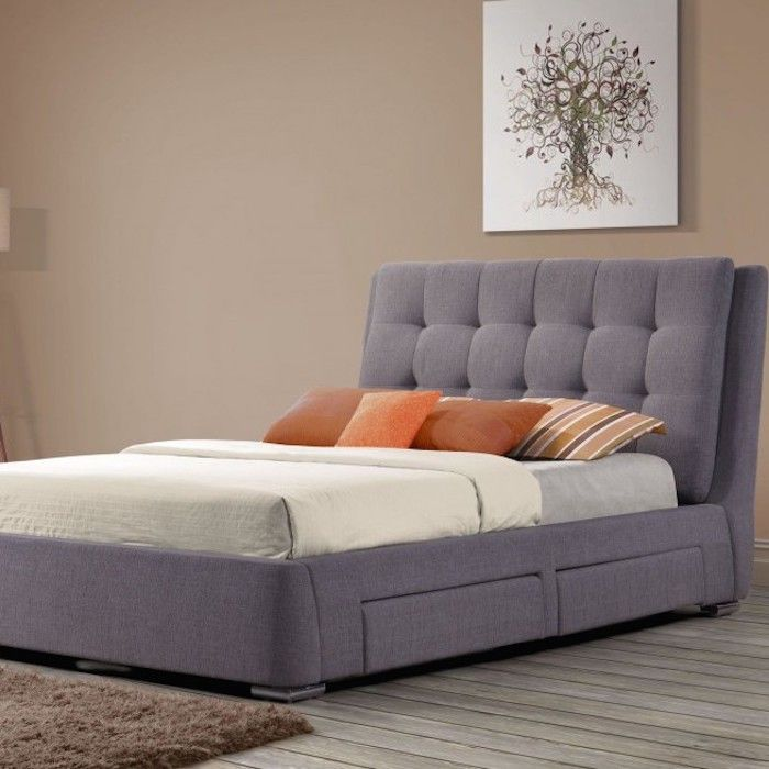 Camile Fabric Upholstered 4 Drawer Bed - Luxury Leather Beds - Beds.co.uk - The Bed Outlet £549 inc 1500 spring mattress!!
