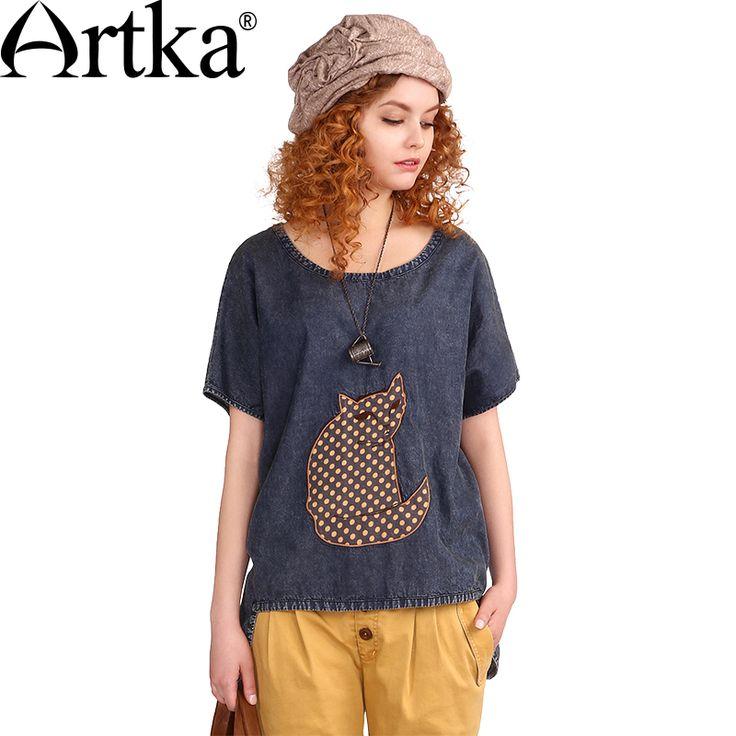 Artka Women's Summer New Character Appliques Denim Shirt Loose Style O-Neck Short Sleeve Irregular Hem All-match Shirt SN10761X