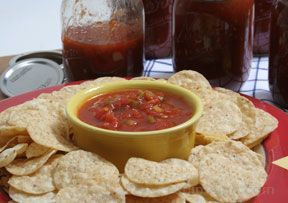 Homemade Canned Salsa Recipe from RecipeTips.com! I would hot water bath this though...it stabilizes the enzymes in the tomatoes for canning. I've seen recipes from 20 to 40 min. for both pints or quarts.
