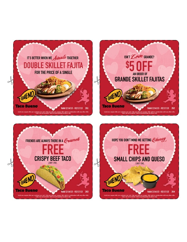 Enjoy these special offers 2/14-2/17. #TacoBueno #fajita #queso #cheese #taco #coupon #free #discount