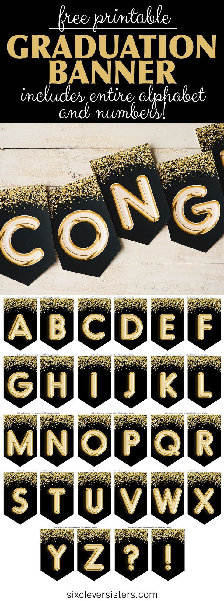 Abschluss-Banner, schwarz und gold - frei bedruckbar