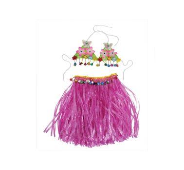 Komplet hawajski różowa spódnica + biustonosz.W takim stroju zrobisz furorę na swojej imprezie :)