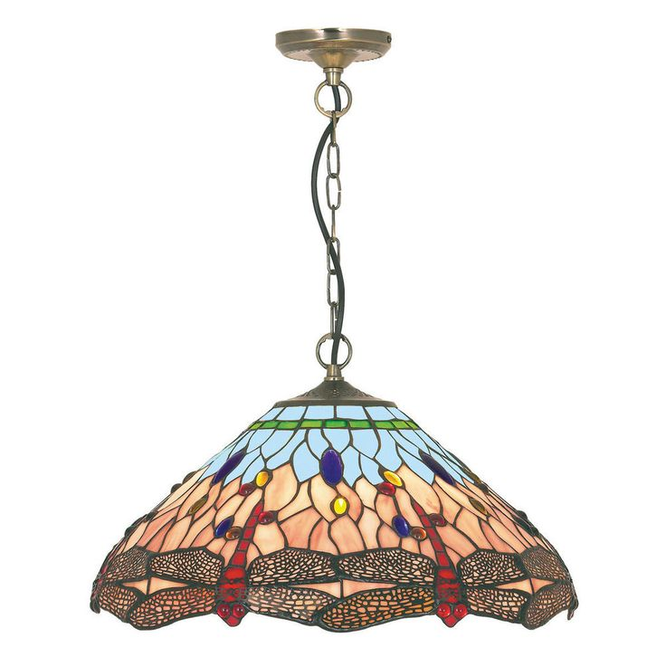 Searchlight 1283 16 Dragonfly Antique Brass Pendant Light Tiffany Style Glass TiffanyLighting By Dushka