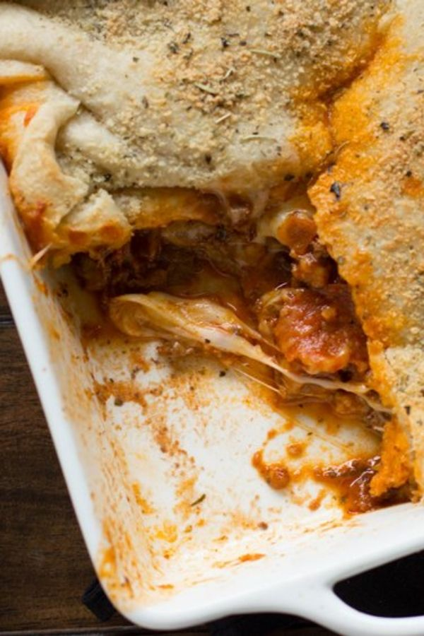 Make pizza pot-pie style by baking it with the crust on top! Serve with a simple salad for an easy comfort food dinner win.