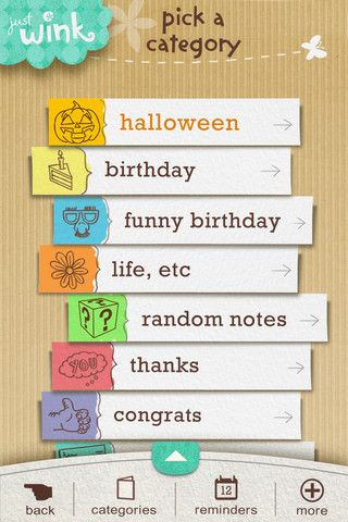 screenshot of justWink Greeting Cards iOS application