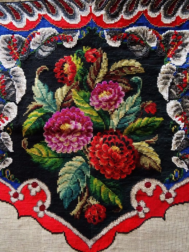 """Antique Beadwork & Berlin Woolwork 22"""" x 23"""" FLORAL Picture Panel / Face Shield 