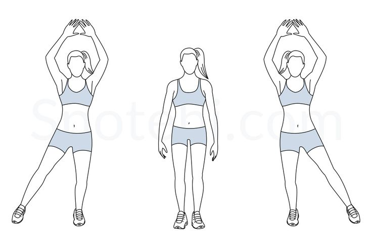 Keep the knees slightly bent and in line with your hips and feet. Engage your core muscles and your glutes and maintain a steady and smooth breathing pattern. Keep the arms extended and the elbows loose during the entire exercise. http://www.spotebi.com/exercise-guide/modified-jumping-jacks/