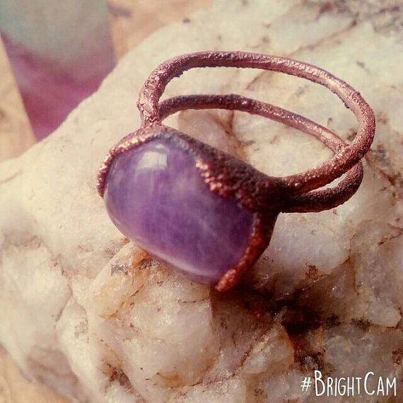 Check out this item in my Etsy shop https://www.etsy.com/listing/496129107/amethyst-ring-size-575-electroformed