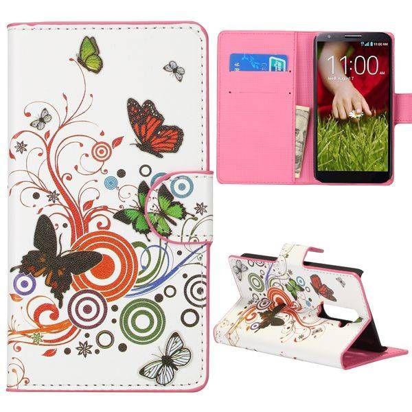 Vlinders booktype hoesje voor LG G2