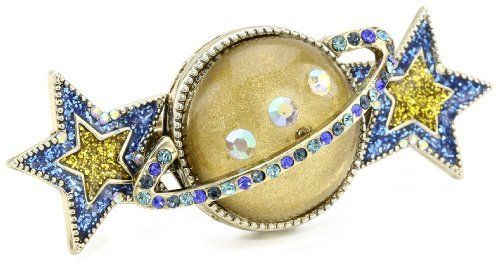 """Betsey Johnson """"Heaven's to Betsey"""" Orbit and Star Two-Finger Stretch Ring, Size 7.5 Betsey Johnson. $65.00. Made in China. Handmade rings may range a 1/2 size up or down. Items that are handmade may vary in size, shape and color. Handmade rings may range a 1/2 size up or down Made in CN. gold tone orbit with crystal accents, blue and yellow stars, gold tone two-finger stretch ring shank"""