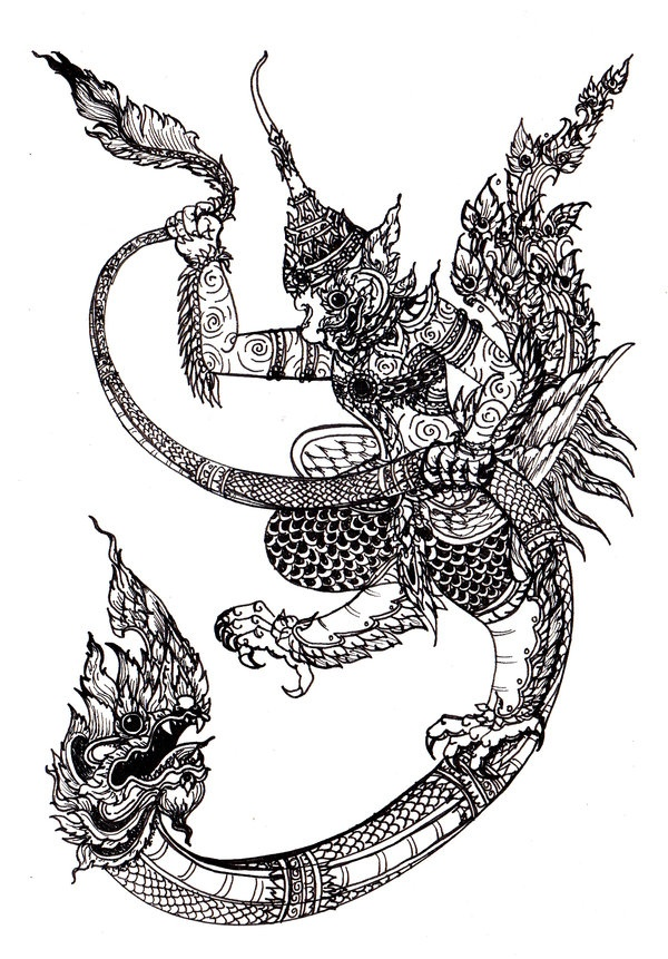 Thai art naga garuda buddha tattoo pinterest for Laos tattoo designs