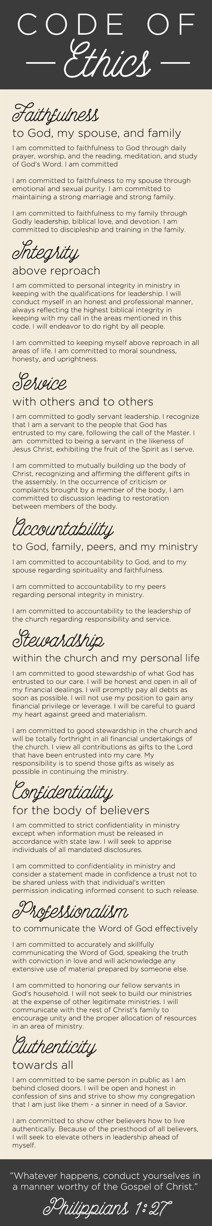A Pastor's Code of Ethics