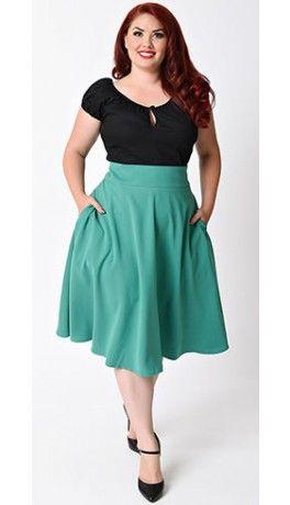 Unique Vintage Plus Size Retro Style Green High Waist Vivien Swing Skirt