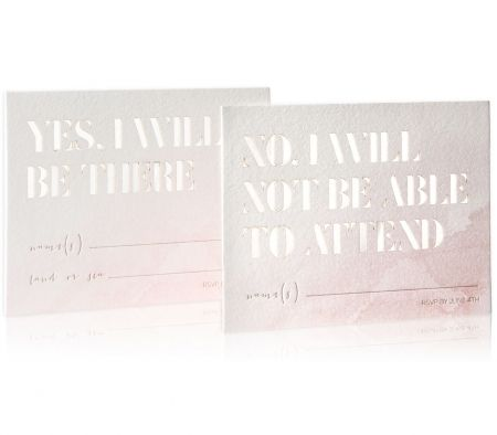 Lucent Collection / Laser Cut & Letterpress Reply Cards / Watercolor Reply Cards / Blush / Custom Colors