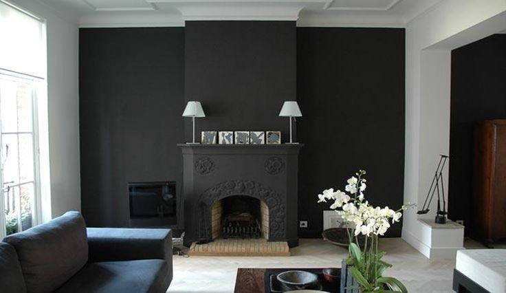 Chemin e et mur gris fonc mur gris pinterest photos search and salons - Mur gris anthracite salon ...